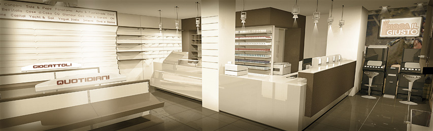 Design of tobacco shop furnishings and displays